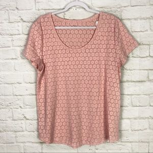 Loft Ann Taylor Pink Floral Scoop Neck Tee NWT